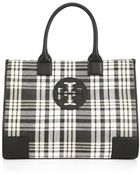 Tory Burch Plaid Ella Tote - Lyst