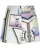 River Island Purple Print Textured Shorts - Lyst