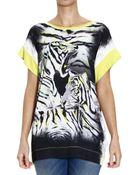 Just Cavalli Tiger Printed Silk Half Sleeve Top - Lyst
