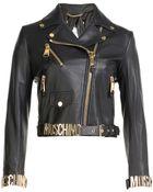 Moschino Logo Leather Biker Jacket - Lyst