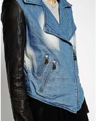 Doma Denim Moto Jacket With Leather Sleeves - Lyst