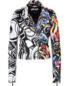 Just Cavalli Leather Graffiti Print Biker Jacket - Lyst