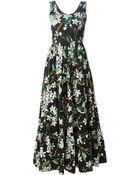 Dolce & Gabbana Long Orange Blossom Print Dress - Lyst