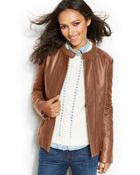 Tommy Hilfiger Leather Bomber Jacket - Lyst