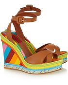 Valentino Printed Leather, Raffia And Canvas Wedge Sandals - Lyst