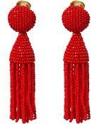 Oscar de la Renta Red Short Tassel Clip-On Earrings - Lyst