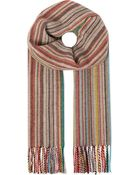 Paul Smith Striped Wool-cashmere Scarf - Lyst