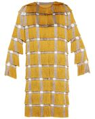 Marco De Vincenzo Checked Fringed Coat - Lyst