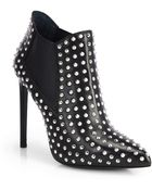 Saint Laurent Paris Studded Leather Booties - Lyst