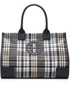 Tory Burch Plaid Ella Tote - Black/White/Beige - Lyst