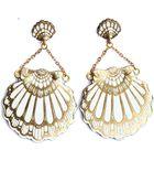 Rosita Bonita Fan Clam Stud Earrings In White - Lyst