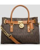 MICHAEL Michael Kors Satchel - Hamilton East West Signature Logo - Lyst