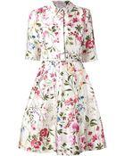 Oscar de la Renta Garden Print Belted Silk Shirt Dress - Lyst