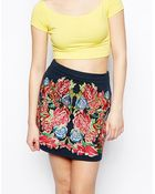 Asos Premium A-Line Skirt With Floral Embroidery - Lyst