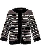 Marc Jacobs Striped Fur Coat - Lyst