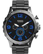 Fossil Men'S Chronograph Nate Smoke-Tone Stainless Steel Bracelet Watch 50Mm Jr1478 - Lyst