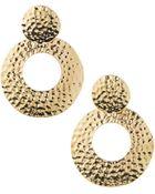 R.j. Graziano Hammered Golden Drop Earrings - Lyst
