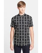 Paul Smith Classic Fit Palm Leaf Print Woven Shirt - Lyst