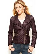 Guess Quilted Faux-Leather Moto Jacket - Lyst