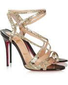 Christian Louboutin Audrey 100 Metallic Coated Suede Sandals - Lyst