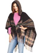 Collection Xiix Stripe Border Hooded Wrap - Lyst
