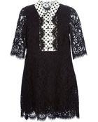 Dolce & Gabbana Polka Dot Lace Shirt Dress - Lyst