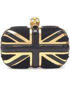 Alexander McQueen Britannia Skullclasp Clutch Bag Black - Lyst