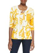Michael Simon Printed Cardigan With Golden Buttons - Lyst