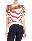 Jean Paul Gaultier Soleil White Stripe Knit Hi-Low Top - Lyst