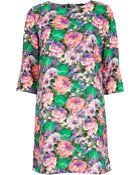 River Island Green Floral Print Shift Dress - Lyst