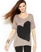Inc International Concepts Scoopneck Studded Heart Top - Lyst