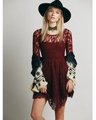 Free People Womens Floral Mesh Lace Dress - Lyst