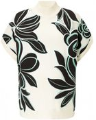 3.1 Phillip Lim Floral Embroidered Short-Sleeve Sweater - Lyst