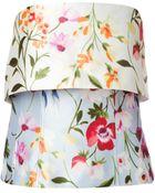 Oscar de la Renta Floral Print Strapless Top - Lyst