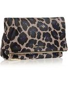 Jimmy Choo Nyla Leopard-Print Calf Hair Clutch - Lyst