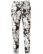 Oscar de la Renta Abstract Floral Print Trousers - Lyst