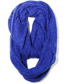 Paula Bianco Frayed Infinity Scarf In Cobalt - Lyst