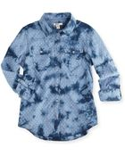 Silver Jeans Co. Dotted Chambray Shirt Bleach Blue - Lyst