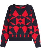 DKNY Wool-Blend Graphic Print Sweater - Lyst