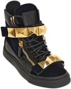 Giuseppe Zanotti Studded Strap Velvet High Top Sneakers - Lyst
