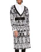 Oscar de la Renta Printed Shawl-Collar Coat - Lyst