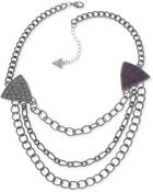Guess Hematitetone Crystal and Crocodile Triangle Threerow Chain Necklace - Lyst