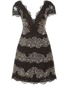 Marchesa Embroidered Lace V-Neck Cocktail Dress - Lyst