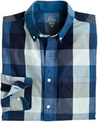 J.Crew Tall Indigo Cotton Shirt In End-On-End Buffalo Check - Lyst