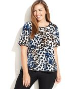 Calvin Klein Plus Size Fauxleathertrim Animalprint Top - Lyst