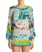 Milly Miami Mirage-Print Silk-Chiffon Tunic Coverup - Lyst