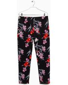 Mango Printed Cotton Trousers - Lyst