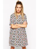 Asos Reclaimed Vintage Smock Dress In Tile Print With Tie Back - Lyst
