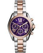 Michael Kors Women'S Chronograph Mini Bradshaw Two-Tone Stainless Steel Bracelet Watch 36Mm Mk6074 - Lyst