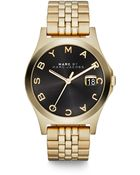 Marc By Marc Jacobs Henry Slim Goldtone Stainless Steel Bracelet Watch/Black - Lyst